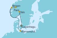 Visitando Copenhague (Dinamarca), Warnemunde (Alemania), Bergen (Noruega), Flam (Noruega), Oslo (Noruega), Copenhague (Dinamarca)