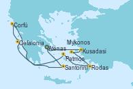 Visitando Atenas (Grecia), Kusadasi (Efeso/Turquía), Patmos (Grecia), Rodas (Grecia), Mykonos (Grecia), Cefalonia (Grecia), Corfú (Grecia), Santorini (Grecia), Atenas (Grecia)