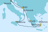 Visitando Venecia (Italia), Kotor (Montenegro), Corfú (Grecia), Santorini (Grecia), Mykonos (Grecia), Cefalonia (Grecia), Dubrovnik (Croacia), Venecia (Italia)