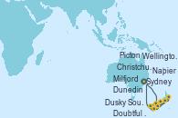 Visitando Sydney (Australia), Milfjord Sound (Nueva Zelanda), Doubtful Sound (Nueva Zelanda), Dusky Sound (Nueva Zelanda), Dunedin (Nueva Zelanda), Christchurch (Nueva Zelanda), Wellington (Nueva Zelanda), Napier (Nueva Zelanda), Picton (Australia), Sydney (Australia)