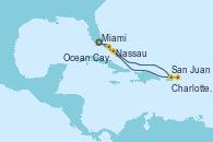 Visitando Miami (Florida/EEUU), San Juan (Puerto Rico), San Juan (Puerto Rico), Charlotte Amalie (St. Thomas), Nassau (Bahamas), Ocean Cay MSC Marine Reserve (Bahamas), Miami (Florida/EEUU)