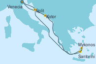 Visitando Venecia (Italia), Kotor (Montenegro), Mykonos (Grecia), Santorini (Grecia), Split (Croacia), Venecia (Italia)