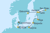 Visitando Copenhague (Dinamarca), Rostock (Alemania), Gdynia (Polonia), Klaipeda (Lituania), Riga (Letonia), Helsinki (Finlandia), San Petersburgo (Rusia), San Petersburgo (Rusia), Tallin (Estonia), Estocolmo (Suecia)