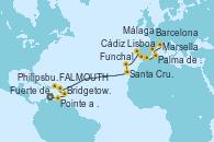 Visitando Fuerte de France (Martinica), Pointe a Pitre (Guadalupe), Bridgetown (Barbados), FALMOUTH, Philipsburg (St. Maarten), Santa Cruz de Tenerife (España), Funchal (Madeira), Lisboa (Portugal), Cádiz (España), Málaga, Palma de Mallorca (España), Barcelona, Marsella (Francia)
