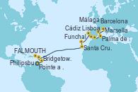 Visitando Pointe a Pitre (Guadalupe), Bridgetown (Barbados), FALMOUTH, Philipsburg (St. Maarten), Santa Cruz de Tenerife (España), Funchal (Madeira), Lisboa (Portugal), Cádiz (España), Málaga, Palma de Mallorca (España), Barcelona, Marsella (Francia)