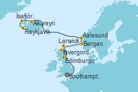Visitando Southampton (Inglaterra), Invergordon (Escocia), Edimburgo (Escocia), Lerwick (Escocia), Bergen (Noruega), Aalesund (Noruega), Akureyri (Islandia), Ísafjörður (Islandia), Reykjavik (Islandia), Reykjavik (Islandia)