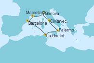 Visitando Génova (Italia), Marsella (Francia), Barcelona, La Goulette (Tunez), Palermo (Italia), Civitavecchia (Roma), Génova (Italia)
