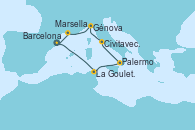 Visitando Barcelona, La Goulette (Tunez), Palermo (Italia), Civitavecchia (Roma), Génova (Italia), Marsella (Francia), Barcelona