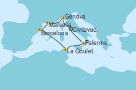Visitando Civitavecchia (Roma), Génova (Italia), Marsella (Francia), Barcelona, La Goulette (Tunez), Palermo (Italia), Civitavecchia (Roma)