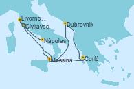 Visitando Civitavecchia (Roma), Dubrovnik (Croacia), Corfú (Grecia), Messina (Sicilia), Nápoles (Italia), Livorno, Pisa y Florencia (Italia), Civitavecchia (Roma)