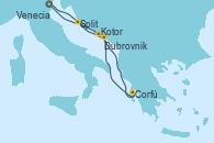 Visitando Venecia (Italia), Kotor (Montenegro), Corfú (Grecia), Dubrovnik (Croacia), Split (Croacia), Venecia (Italia)
