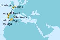 Visitando Barcelona, Málaga, Cádiz (España), Lisboa (Portugal), Vigo (España), El Ferrol (Galicia/España), Bilbao (España), Southampton (Inglaterra)