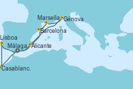 Visitando Málaga, Casablanca (Marruecos), Lisboa (Portugal), Barcelona, Marsella (Francia), Génova (Italia), Alicante (España), Málaga