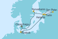 Visitando Copenhague (Dinamarca), Rostock (Alemania), Tallin (Estonia), San Petersburgo (Rusia), San Petersburgo (Rusia), Helsinki (Finlandia), Nynashamn (Suecia), Copenhague (Dinamarca)