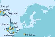 Visitando Reykjavik (Islandia), Ísafjörður (Islandia), Akureyri (Islandia), Seydisfjordur (Islandia), Belfast (Irlanda), Liverpool (Reino Unido), Dublin (Irlanda), Cork (Irlanda), Portland, Dorset (Reino Unido), Southampton (Inglaterra)