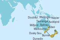 Visitando Auckland (Nueva Zelanda), Tauranga (Nueva Zelanda), Napier (Nueva Zelanda), Wellington (Nueva Zelanda), Dunedin (Nueva Zelanda), Milfjord Sound (Nueva Zelanda), Doubtful Sound (Nueva Zelanda), Dusky Sound (Nueva Zelanda), Melbourne (Australia), Burnie (Tasmania/Australia), Eden (Nueva Gales), Sydney (Australia)