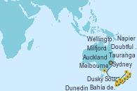 Visitando Sydney (Australia), Melbourne (Australia), Milfjord Sound (Nueva Zelanda), Doubtful Sound (Nueva Zelanda), Dusky Sound (Nueva Zelanda), Dunedin (Nueva Zelanda), Wellington (Nueva Zelanda), Napier (Nueva Zelanda), Tauranga (Nueva Zelanda), Bahía de las Islas (Nueva Zelanda), Auckland (Nueva Zelanda)