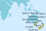 Visitando Auckland (Nueva Zelanda), Tauranga (Nueva Zelanda), Napier (Nueva Zelanda), Wellington (Nueva Zelanda), Dunedin (Nueva Zelanda), Milfjord Sound (Nueva Zelanda), Dusky Sound (Nueva Zelanda), Doubtful Sound (Nueva Zelanda), Melbourne (Australia), Burnie (Tasmania/Australia), Eden (Nueva Gales), Sydney (Australia)