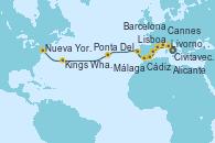 Visitando Civitavecchia (Roma), Livorno, Pisa y Florencia (Italia), Cannes (Francia), Barcelona, Alicante (España), Málaga, Cádiz (España), Lisboa (Portugal), Ponta Delgada (Azores), Kings Wharf (Bermudas), Nueva York (Estados Unidos)