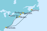 Visitando Nueva York (Estados Unidos), Charleston (Carolina del Sur), Sydney (Nueva Escocia/Canadá), Saint John (New Brunswick/Canadá), Portland (Maine/Estados Unidos), Boston (Massachusetts), Nueva York (Estados Unidos)