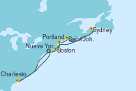 Visitando Nueva York (Estados Unidos), Boston (Massachusetts), Portland (Maine/Estados Unidos), Saint John (New Brunswick/Canadá), Sydney (Nueva Escocia/Canadá), Charleston (Carolina del Sur), Nueva York (Estados Unidos)