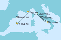 Visitando Civitavecchia (Roma), Nápoles (Italia), Livorno, Pisa y Florencia (Italia), Cannes (Francia), Palma de Mallorca (España), Barcelona