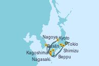 Visitando Tokio (Japón), Shimizu (Japón), Nagoya (Japón), Kyoto (Japón), Kyoto (Japón), Beppu (Japón), Busán (Corea del Sur), Nagasaki (Japón), Kagoshima (Japón), Tokio (Japón)
