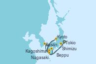 Visitando Tokio (Japón), Shimizu (Japón), Kyoto (Japón), Kyoto (Japón), Beppu (Japón), Busán (Corea del Sur), Nagasaki (Japón), Kagoshima (Japón), Tokio (Japón)
