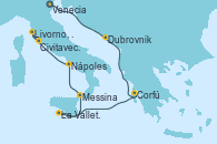 Visitando Venecia (Italia), Dubrovnik (Croacia), Corfú (Grecia), La Valletta (Malta), Messina (Sicilia), Nápoles (Italia), Livorno, Pisa y Florencia (Italia), Civitavecchia (Roma)