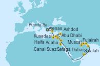 Visitando Atenas (Grecia), Kusadasi (Efeso/Turquía), Haifa (Israel), Ashdod (Israel), Ashdod (Israel), Puerto Said (Egipto), Canal Suez, Safaga (Egipto), Safaga (Egipto), Aqaba (Jordania), Salalah (Omán), Muscat (Omán), Fujairah (Emiratos Árabes), Abu Dhabi (Emiratos Árabes Unidos), Dubai