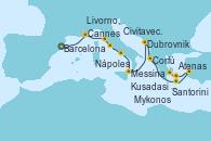 Visitando Barcelona, Cannes (Francia), Livorno, Pisa y Florencia (Italia), Civitavecchia (Roma), Nápoles (Italia), Messina (Sicilia), Dubrovnik (Croacia), Corfú (Grecia), Santorini (Grecia), Kusadasi (Efeso/Turquía), Mykonos (Grecia), Atenas (Grecia)