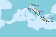 Visitando Bari (Italia), Trieste (Italia), Split (Croacia), Kotor (Montenegro), Katakolon (Olimpia/Grecia), Atenas (Grecia), Bari (Italia)