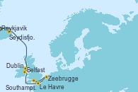 Visitando Reykjavik (Islandia), Reykjavik (Islandia), Ísafjörður (Islandia), Seydisfjordur (Islandia), Belfast (Irlanda), Dublin (Irlanda), Le Havre (Francia), Zeebrugge (Bruselas), Southampton (Inglaterra)