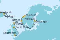 Visitando Reykjavik (Islandia), Ísafjörður (Islandia), Seydisfjordur (Islandia), Geiranger (Noruega), Hellesylt (Noruega), Aalesund (Noruega), Bergen (Noruega), Kirkwall (Escocia), South Queensferry (Escocia), Southampton (Inglaterra)