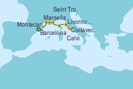 Visitando Barcelona, Marsella (Francia), Saint Tropez (Francia), Montecarlo (Mónaco), Calvi (Córcega), Livorno, Pisa y Florencia (Italia), Livorno, Pisa y Florencia (Italia), Civitavecchia (Roma)