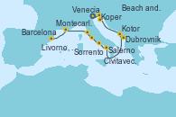 Visitando Venecia (Italia), Koper (Eslovenia), Beach and Pula (Croacia), Dubrovnik (Croacia), Kotor (Montenegro), Salerno (Italia), Sorrento (Nápoles/Italia), Civitavecchia (Roma), Livorno, Pisa y Florencia (Italia), Montecarlo (Mónaco), Montecarlo (Mónaco), Barcelona