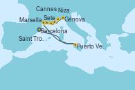 Visitando Barcelona, Puerto Vendres (Francia), Sete (Francia), Marsella (Francia), Saint Tropez (Francia), Cannes (Francia), Niza (Francia), Niza (Francia), Génova (Italia)