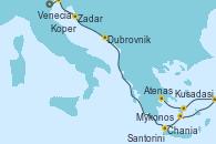 Visitando Venecia (Italia), Koper (Eslovenia), Zadar (Croacia), Dubrovnik (Croacia), Chania (Creta/Grecia), Santorini (Grecia), Kusadasi (Efeso/Turquía), Mykonos (Grecia), Atenas (Grecia)