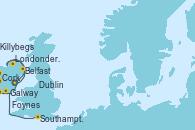 Visitando Dublin (Irlanda), Dublin (Irlanda), Belfast (Irlanda), Belfast (Irlanda), Londonderry (Irlanda), Killybegs (Irlanda), Galway (Irlanda), Foynes (Irlanda), Cork (Irlanda), Southampton (Inglaterra)