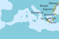 Visitando Atenas (Grecia), Paros (Grecia), Kusadasi (Efeso/Turquía), Burgas (Bulgaria), Varna (Bulgaria), Constanza (Rumania), Odessa (Ucrania), Odessa (Ucrania), Estambul (Turquía), Estambul (Turquía)