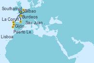 Visitando Southampton (Inglaterra), Burdeos (Francia), Burdeos (Francia), San Juan de Luz (Francia), Bilbao (España), Gijón (Asturias/España), La Coruña (Galicia/España), Puerto Leixões (Portugal), Lisboa (Portugal), Lisboa (Portugal)