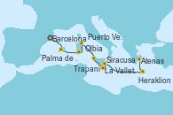 Visitando Barcelona, Palma de Mallorca (España), Puerto Vecchio (Córcega), Olbia (Cerdeña), Trapani (Italia), La Valletta (Malta), Siracusa (Sicilia), Heraklion (Creta), Atenas (Grecia)