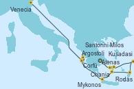 Visitando Atenas (Grecia), Milos (Grecia), Mykonos (Grecia), Kusadasi (Efeso/Turquía), Rodas (Grecia), Santorini (Grecia), Chania (Creta/Grecia), Argostoli (Grecia), Corfú (Grecia), Venecia (Italia)