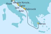 Visitando Venecia (Italia), Koper (Eslovenia), Zadar (Croacia), Split (Croacia), Korcula, Croatia, Dubrovnik (Croacia), Kotor (Montenegro), Atenas (Grecia)