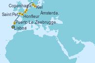 Visitando Lisboa (Portugal), Puerto Leixões (Portugal), Saint Peter´s Port (Reino Unido), Honfleur (Francia), Zeebrugge (Bruselas), Ámsterdam (Holanda), Ámsterdam (Holanda), Kiel (Alemania), Copenhague (Dinamarca)