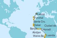 Visitando Lisboa (Portugal), Funchal (Madeira), Santa Cruz de Tenerife (España), Dakar (Senegal), Banjul (Gambia), Abidjan (Costa de Marfil), Takoradi (Ghana), Luanda (Angola), Walvis Bay (Namibia), Ciudad del Cabo (Sudáfrica)