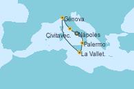 Visitando Nápoles (Italia), Palermo (Italia), La Valletta (Malta), Génova (Italia), Civitavecchia (Roma), Nápoles (Italia)