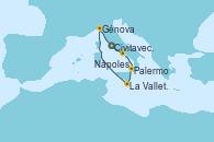 Visitando Civitavecchia (Roma), Nápoles (Italia), Palermo (Italia), La Valletta (Malta), Génova (Italia), Civitavecchia (Roma)