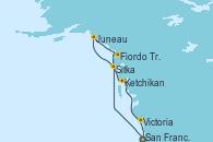 Visitando San Francisco (California/EEUU), Sitka (Alaska), Juneau (Alaska), Fiordo Tracy Arm (Alaska), Ketchikan (Alaska), Victoria (Canadá), San Francisco (California/EEUU)