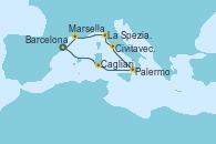 Visitando Barcelona, Cagliari (Cerdeña), Palermo (Italia), Civitavecchia (Roma), La Spezia, Florencia y Pisa (Italia), Marsella (Francia), Barcelona